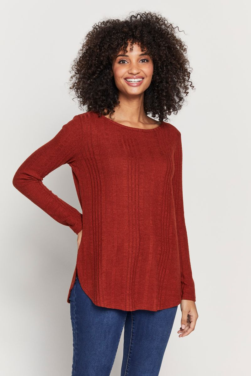 Rust Ribbed Tunic