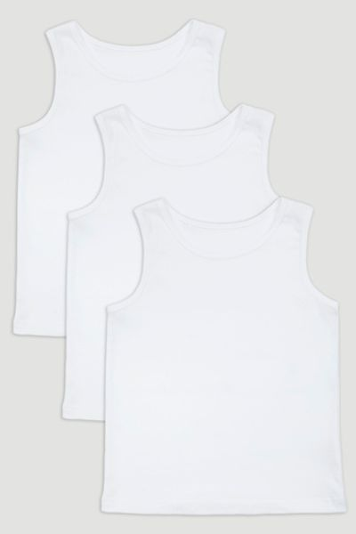 3 Pack White Vests