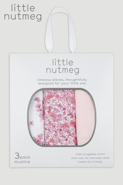 Little Nutmeg 3 Pack Pink Muslin Squares