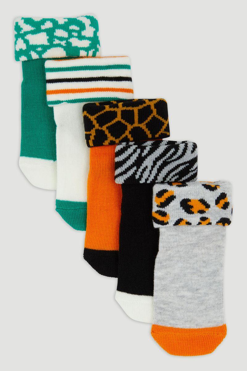 5 Pack Leopard Rolled Top Socks