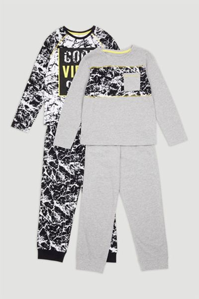 2 Pack Good Vibes Print Pyjamas