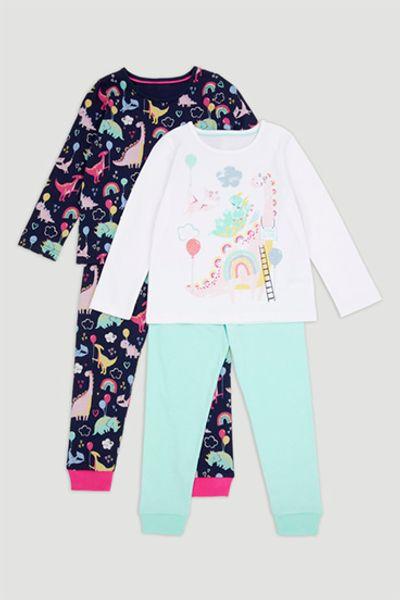 2 Pack Dinosaur Print Pyjamas