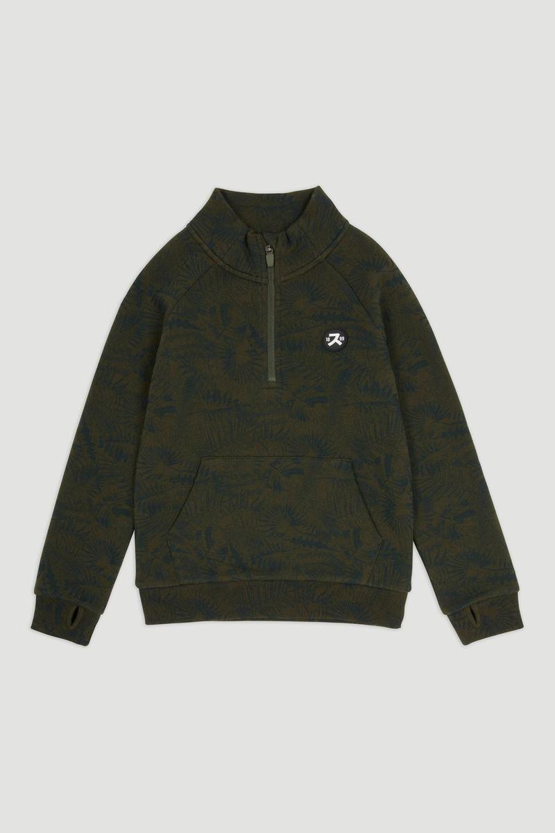Khaki Leaf Print Sweatshirt 1-14yrs