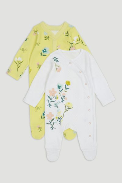 2 Pack Green Flower Sleepsuits