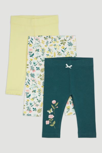 3 Pack Green Flower Leggings