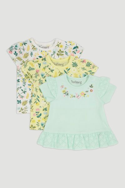 3 Pack Mint Blue Flower T-Shirts