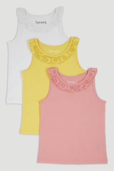 3 Pack Pink Broderie Trim Vest