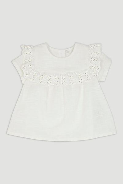 White Broderie Trim T-Shirt