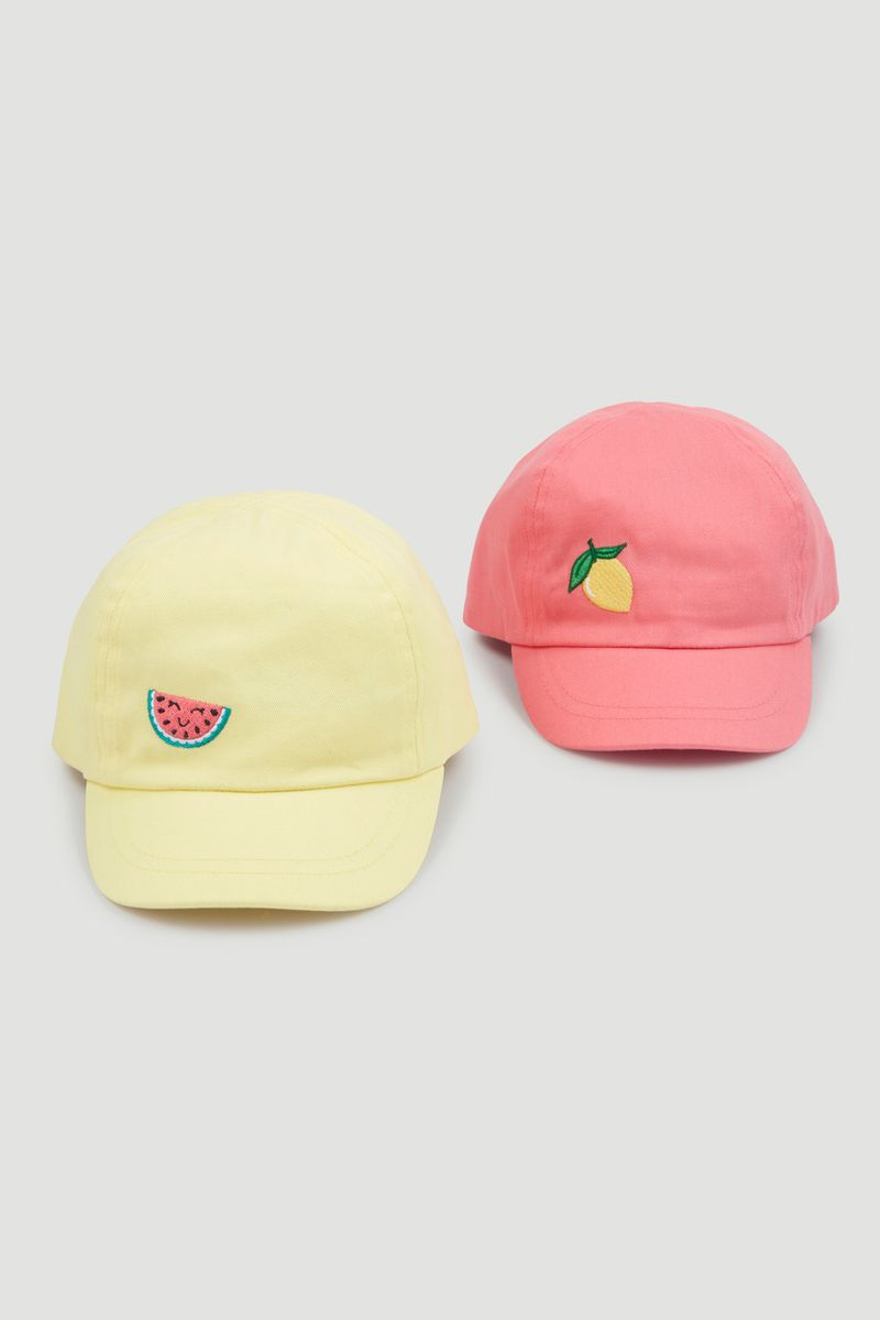 2 Pack Yellow & Pink Caps