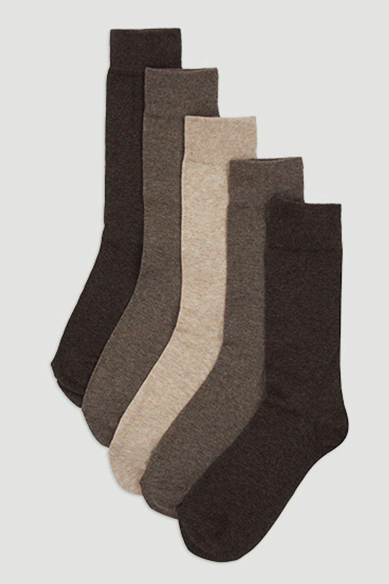 5 Pack Brown Marl Socks