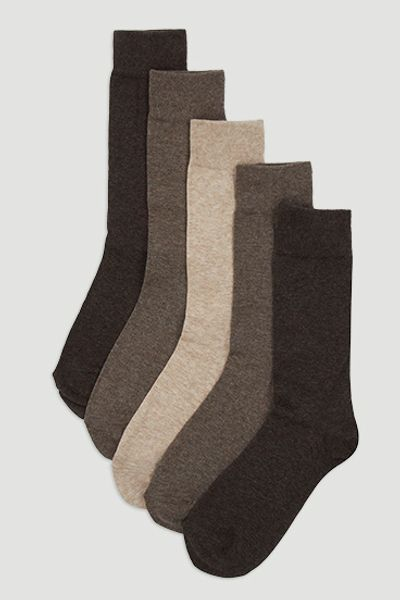 5 Pack Brown Marl Socks