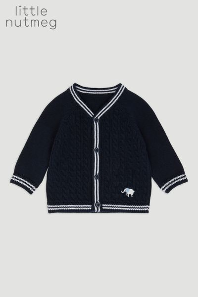 Little Nutmeg Navy Elephant Cardigan