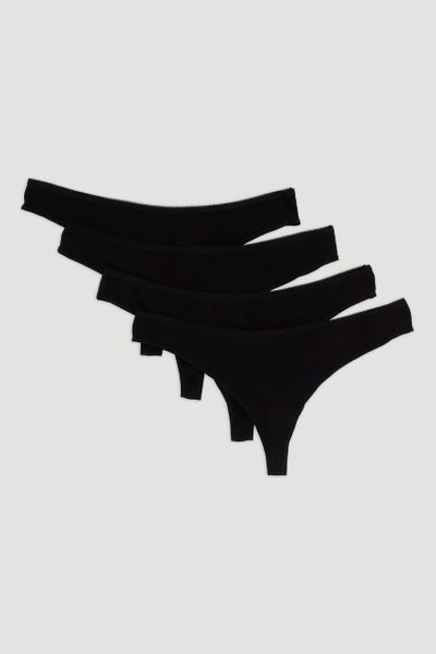 4 Pack Black Low-Rise Thong