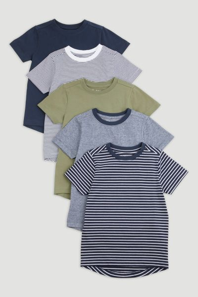 5 Pack Navy Stripe T-Shirts 1-14yrs