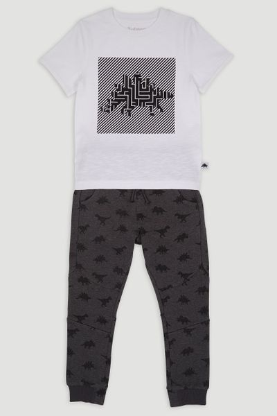 Monochrome Dinosaur T-shirt and Joggers Set