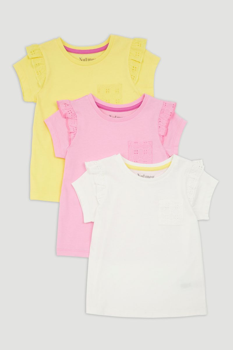 3 Pack Frill Sleeve T-Shirts