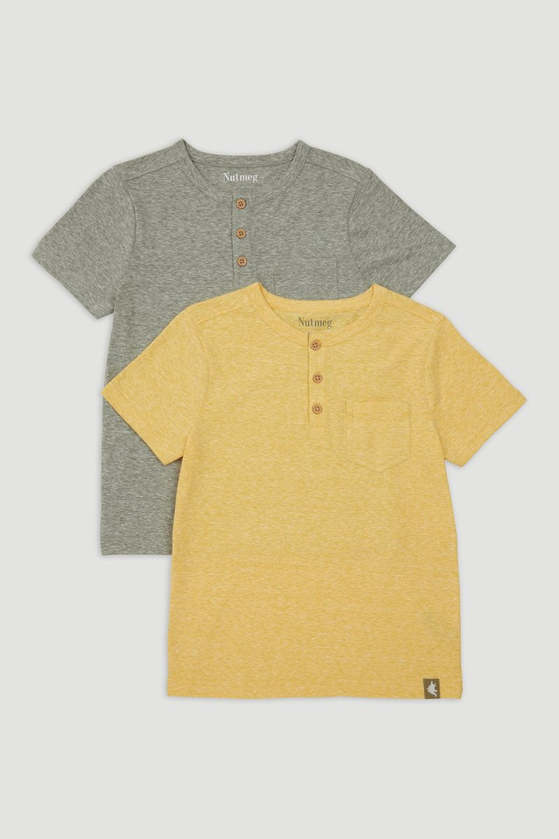 2 Pack Khaki & Ochre T-Shirts 1-14yrs