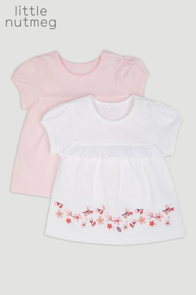 Little Nutmeg 2 Pack Flower T-Shirts
