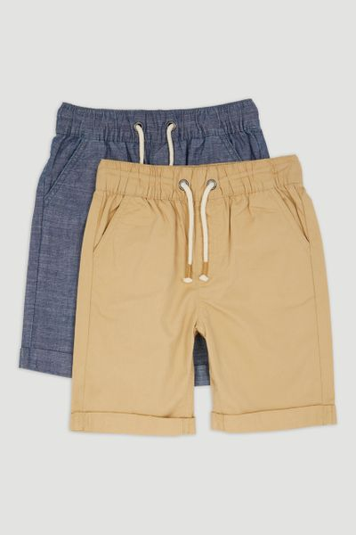 2 Pack Chambray & Stone Chino Shorts 1-14yrs