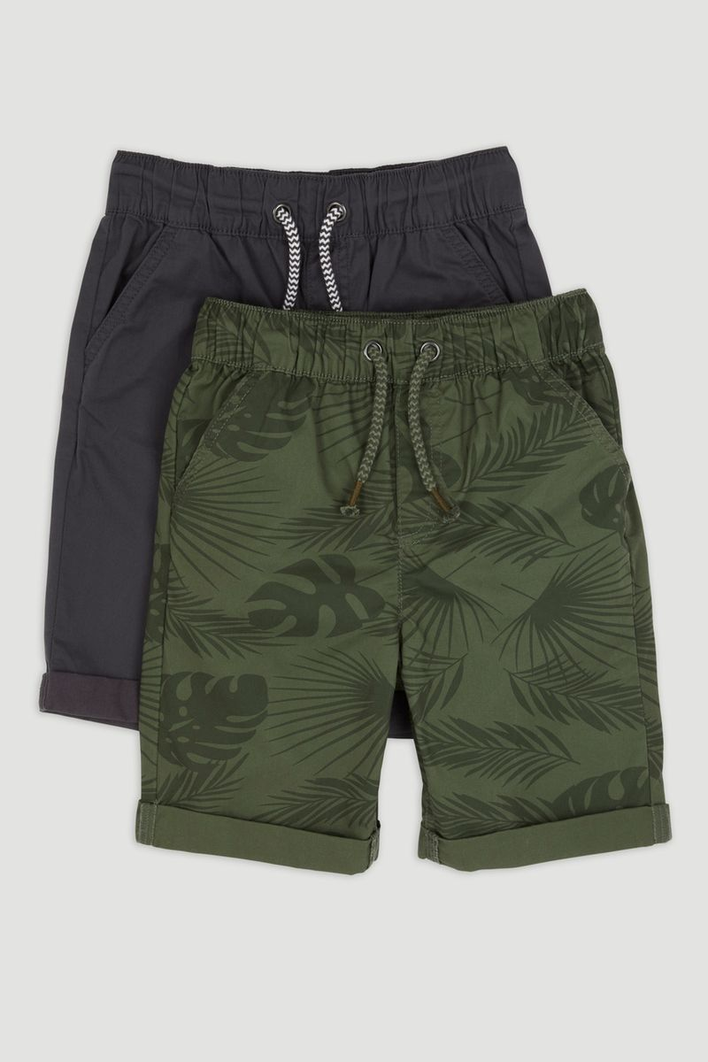 2 Pack Khaki Leaf Chino Shorts 1-14yrs
