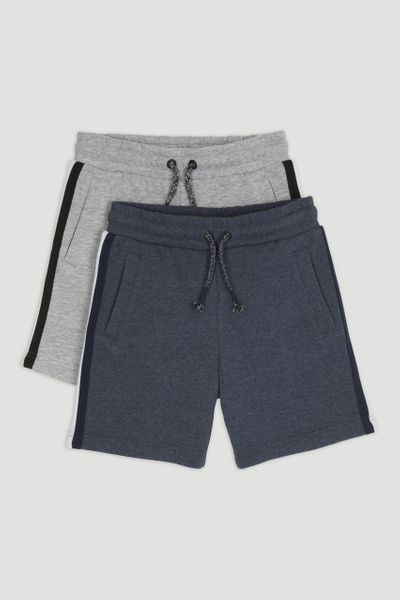 2 Pack Navy & Grey Sweatshorts 1-14yrs