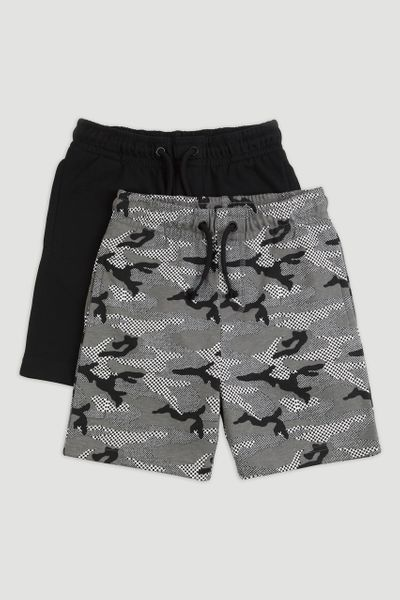 2 Pack Grey & Black Sweat Shorts 1-14yrs