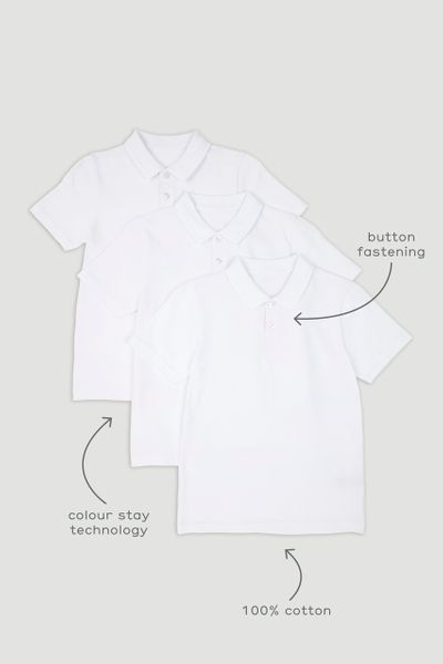 3 Pack Boys White Polo Shirts