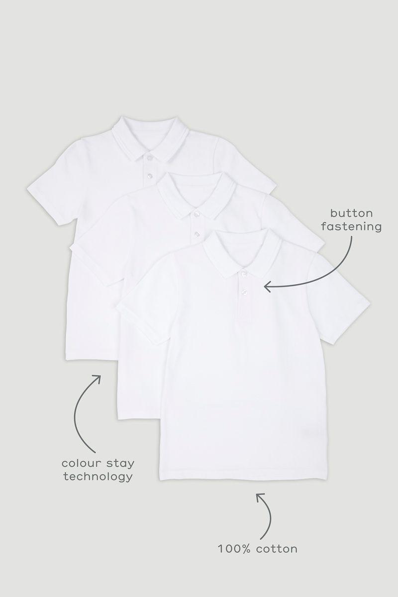 3 Pack Boys White Polo Shirts