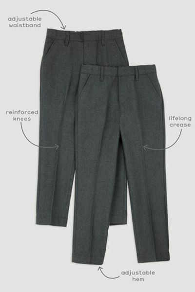 2 Pack Boys Charcoal Regular Fit Trousers
