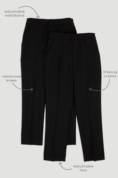 2 Pack Boys Black Regular Fit Trousers