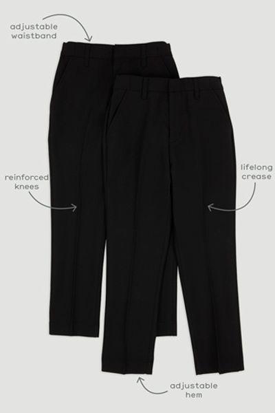 2 Pack Boys Black Regular Fit Trousers