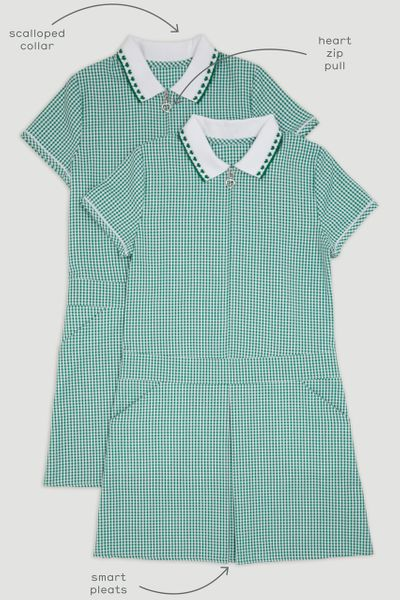 2 Pack Green Sporty Gingham Dress