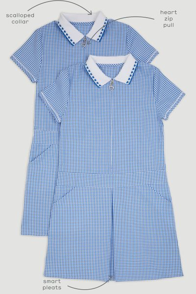 2 Pack Sporty Blue Gingham Dresses