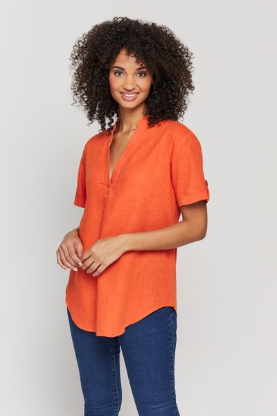 Coral Linen Rich Overhead Shirt
