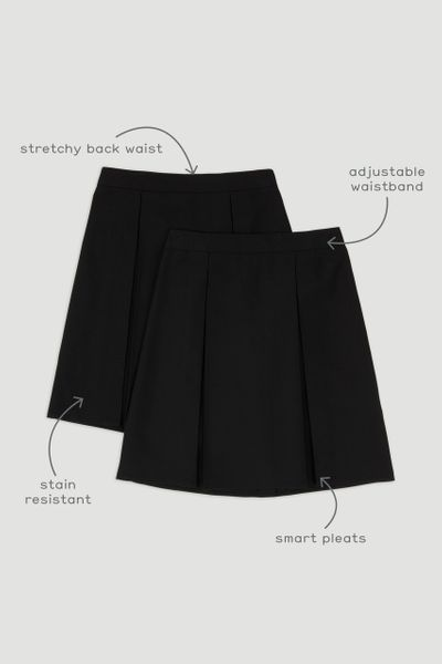 2 Pack Black Woven Pleated Skirt