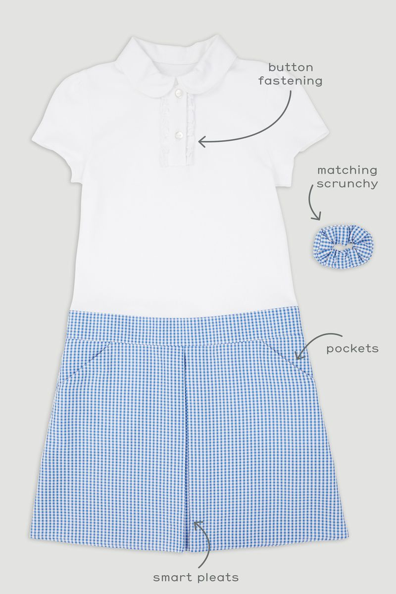 Blue Jersey Gingham Dress