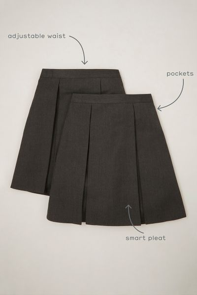 2 Pack Charcoal Pleated Skirts