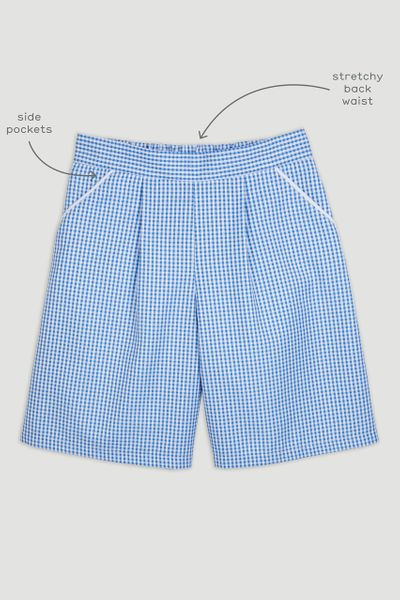 Blue Gingham Culotte Shorts