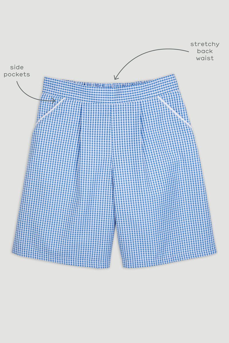 Blue Gingham Culotte Short
