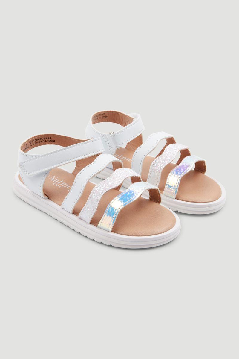 White Glitter Sandal