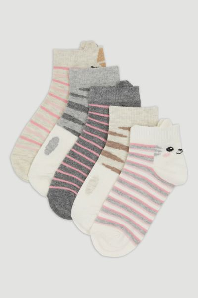 5 Pack Cat Trainer Socks