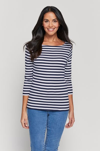 3/4 Sleeve Stripe Bardot