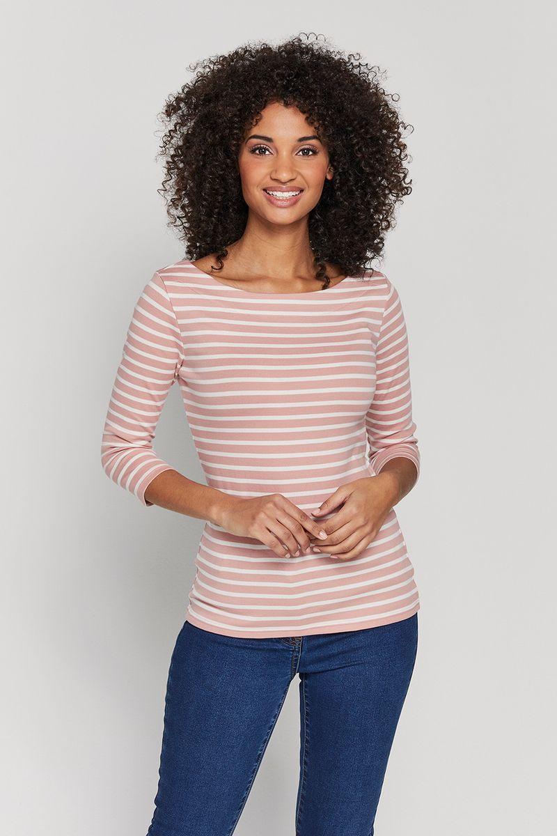 3/4 Pink Stripe Bardot Top