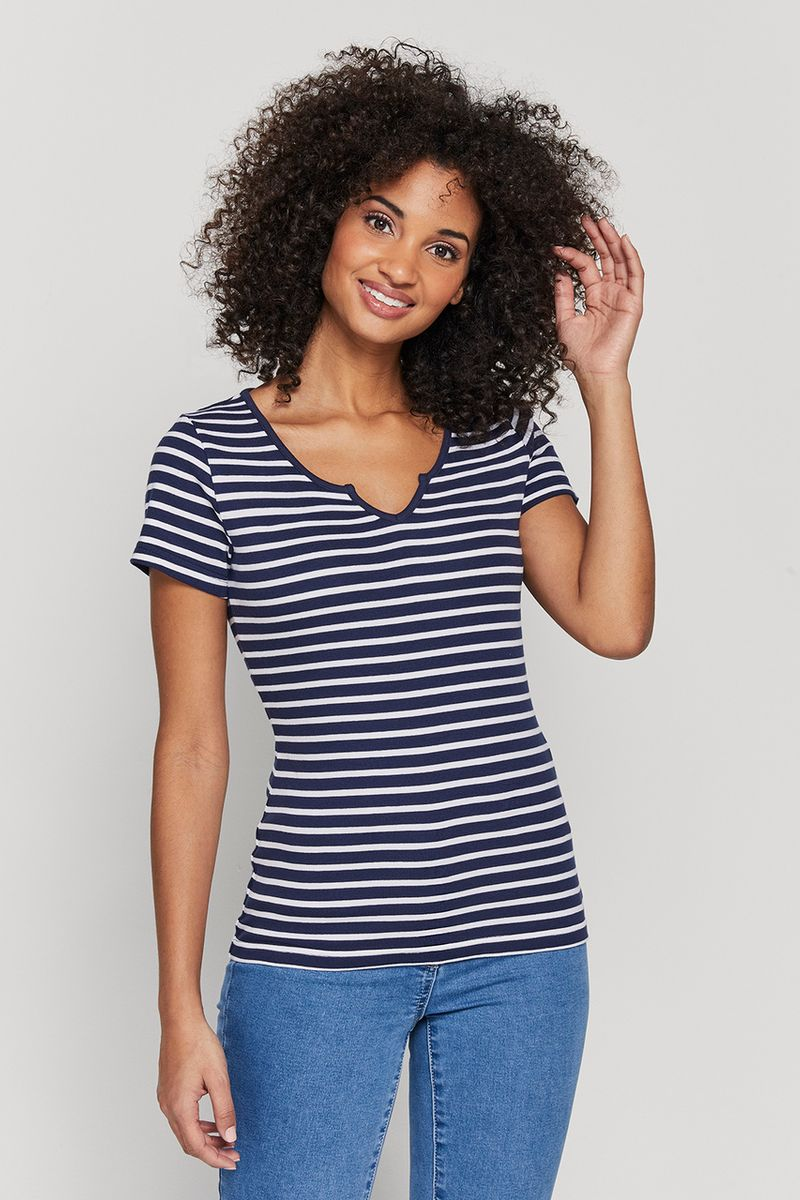 Navy Fitted Stripe Top