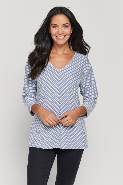Blue Stripe Chevron Top