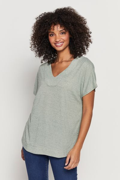 Green V-Neck Top with Linen