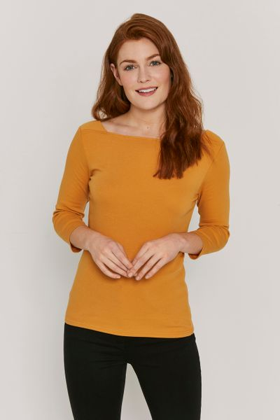 Ochre Square Neck Bardot Top