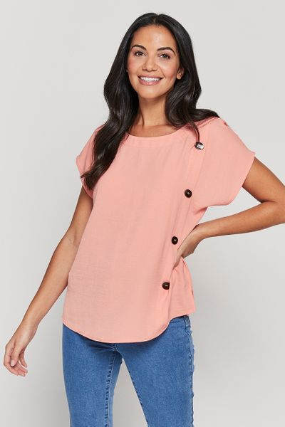 Coral Button Detail Top