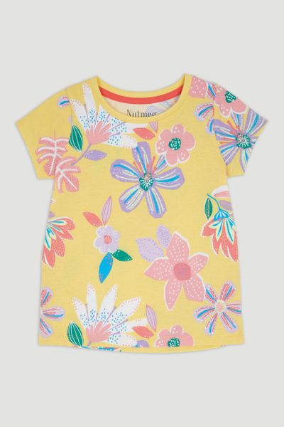 Yellow Flower Print T-Shirt