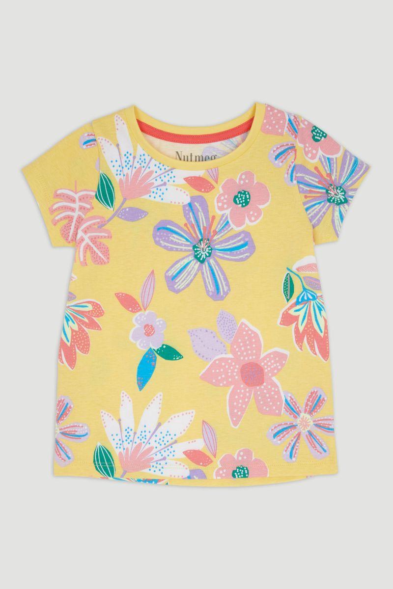 Yellow Flower Print T-Shirt